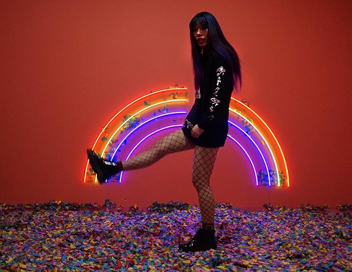 neon rainbow lights, cryptic apparel sweatshirt
