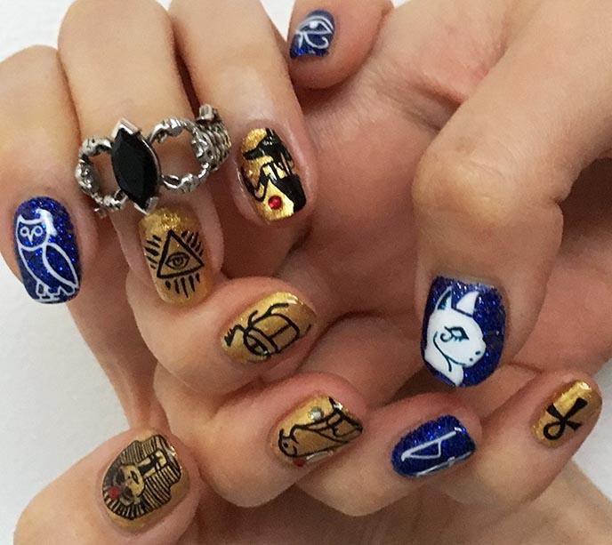 egypt nails, egyptian symbols nail art hieroglyphs