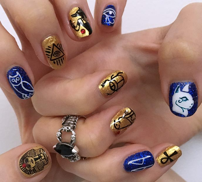 ancient egyptian nail art, gold blue egyptian ankh gel nails