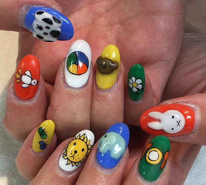 miffy nail art, 3d nails acrylic cute rabbit