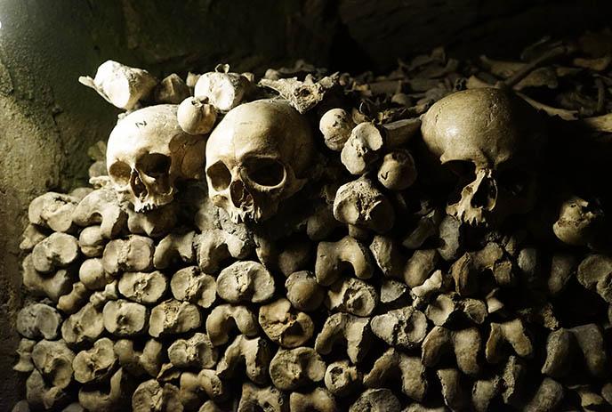 human remains skull bones paris underground