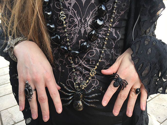 spider ring, necklace goth jewelry