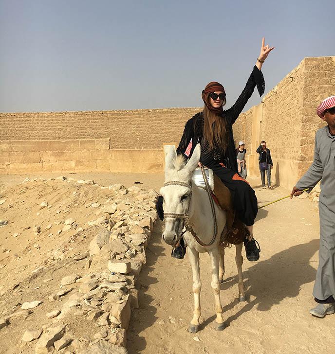 riding donkey cairo egypt