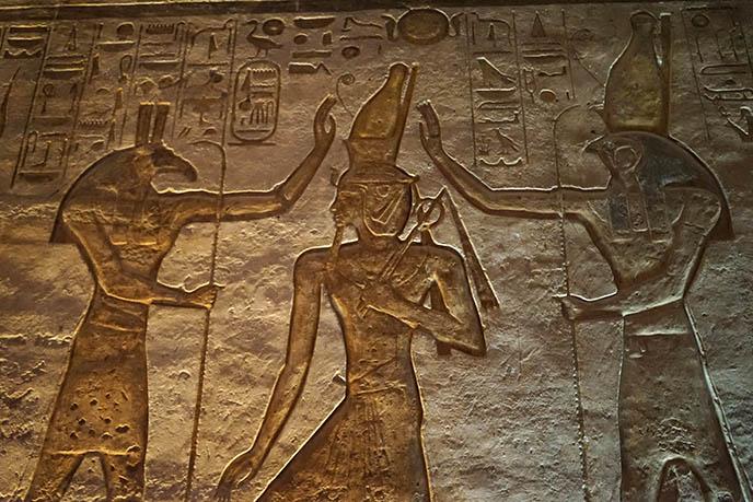 Seth and Horus crowning Ramses II abu simbel