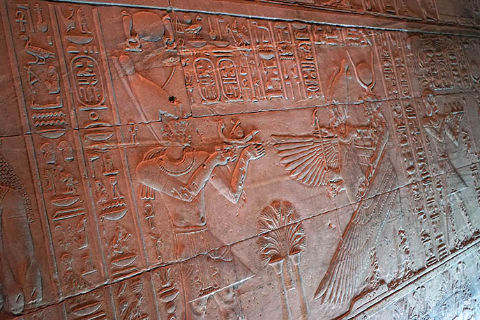 osiris winged god carving philae