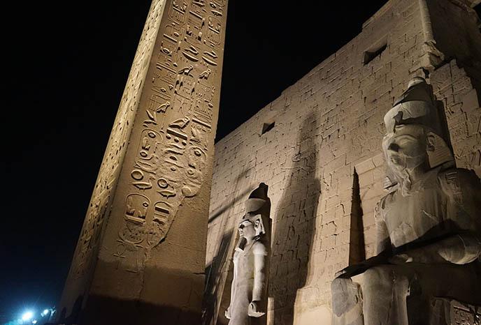 luxor temple obelisk nighttime