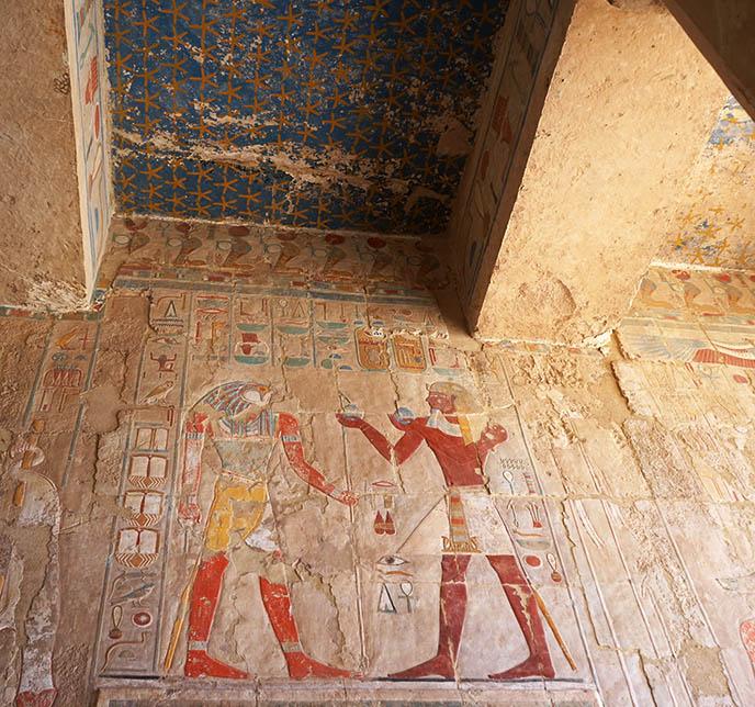 egyptian ceiling stars, hatshepsut horus falcon art