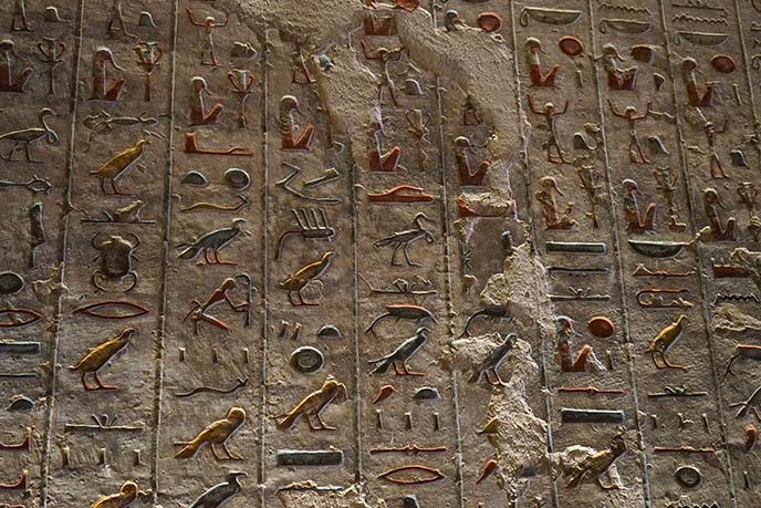 painted colored hieroglyphics egypt