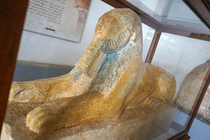 smiling sphinx statue egypt museum