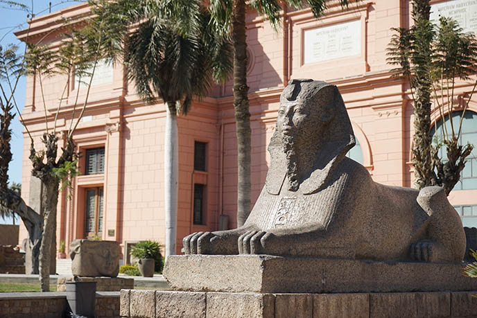 sphinx statue outside egyptian museum cairo