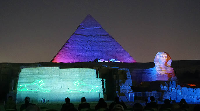 laser light show great pyramids sphinx