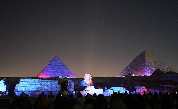 giza pyramids lit up lights lasers