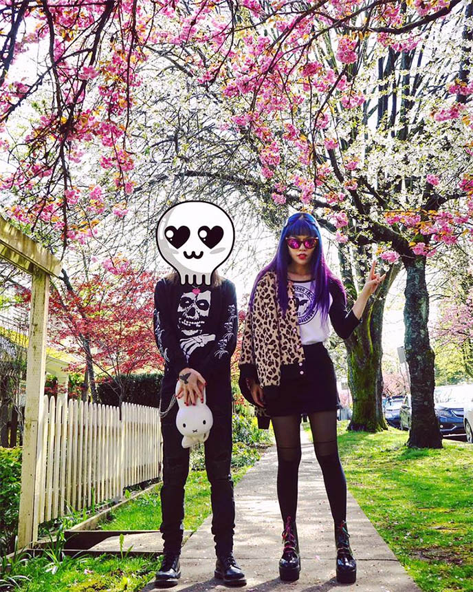 sakura cherry blossoms goth punk outfit
