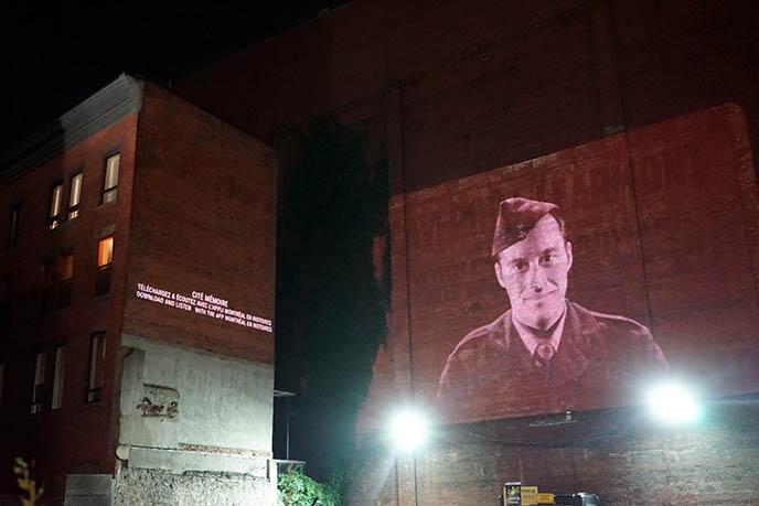 montrael history app, city projections memories