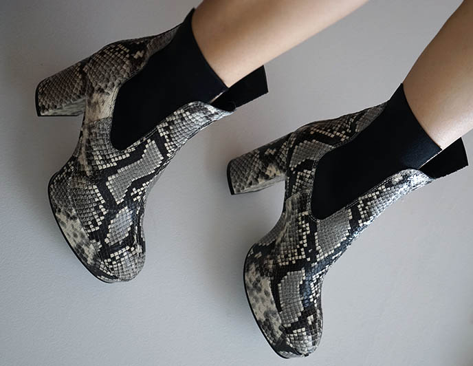 acne python platforms, snakeskin chelsea ankle boots
