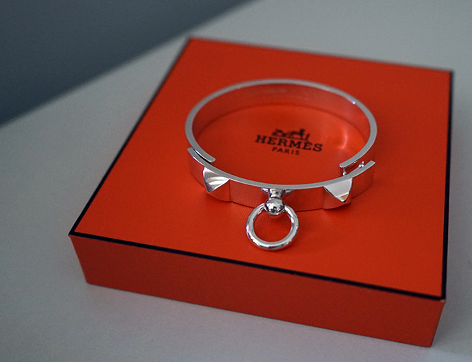 hermes sterling silver collier de chien bracelet, small model cuff bangle jewellery