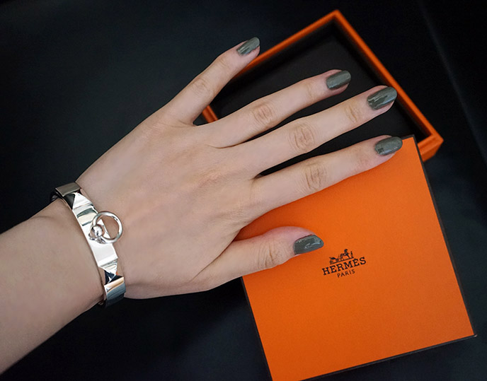 hermes collier de chien silver bracelet, goth fine designer jewelry cdc hinge