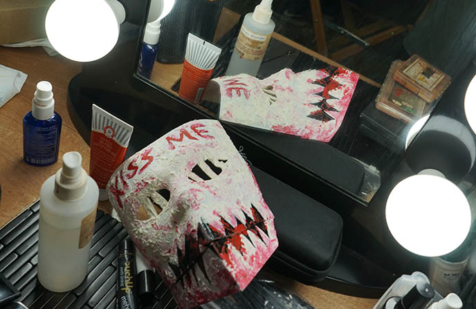 press set visit the purge tv, makeup masks
