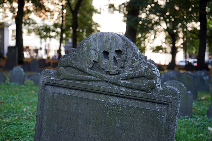 skull crossbones pirate headstone boston
