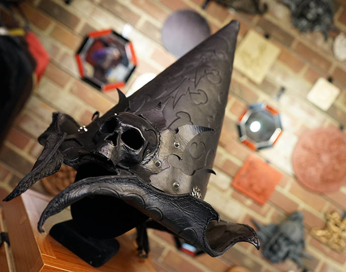 designer leather witch hat