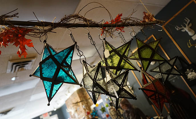 glass star pentagram lanterns pentacle