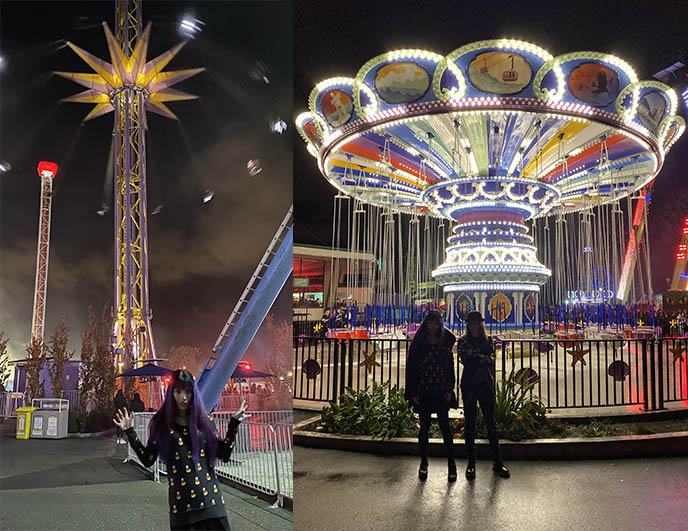 amusement park night time photos rides neon