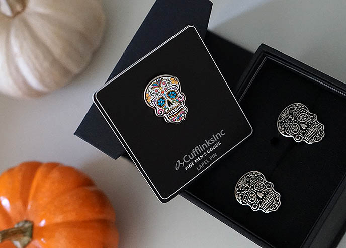 day of the dead sugar skull cufflinks inc