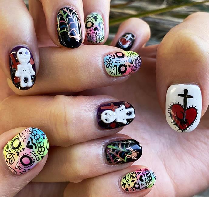 day of the dead nail arts, dia de los muertos nails