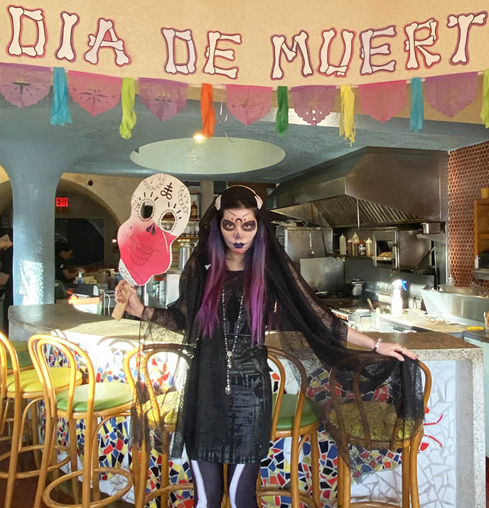 mexican goth, gothic day dead makeup costume skeleton tights