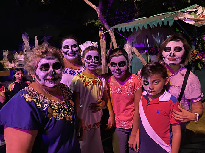 mexican family sugar skull makeup coco skeletons