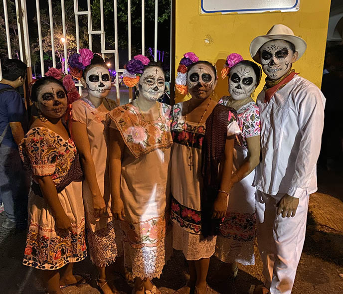 mexico huipil dress makeup sugar skulls