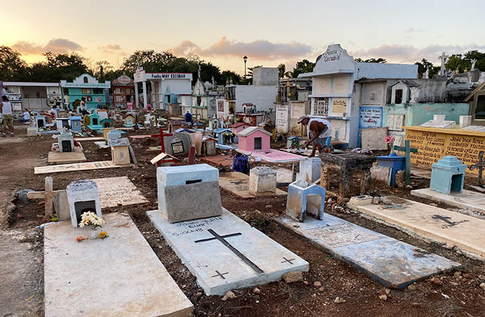 yucatan colored gravestones tombs