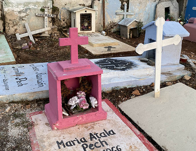 pink mexican tombstone offerings