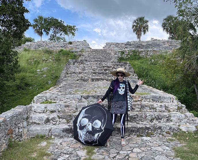 climbing ancient pyramid mexico merida izamal