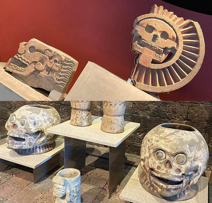 skull skeleton art mexico city Disc of Mictlantecuhtli