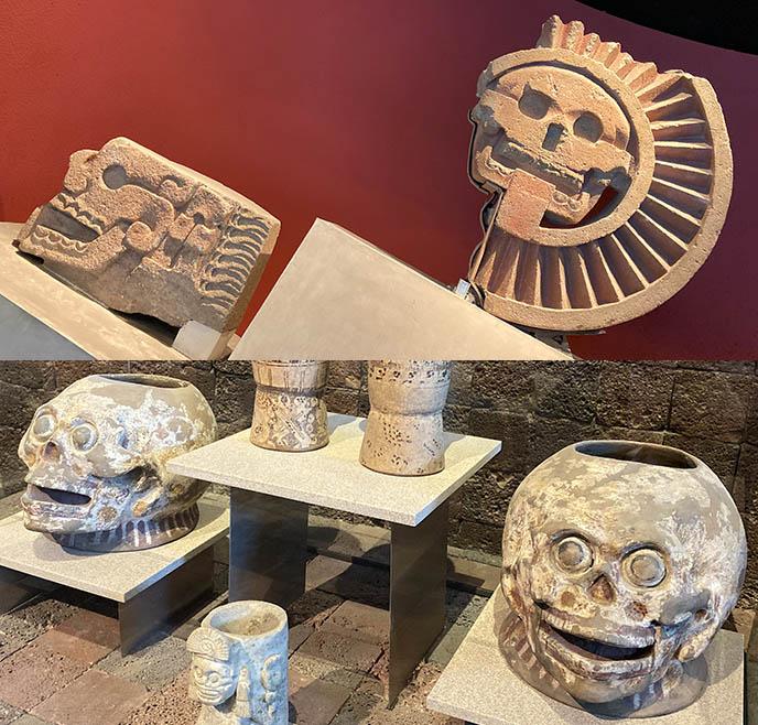 skull skeleton art mexico city Disc of Mictlantecuhtli