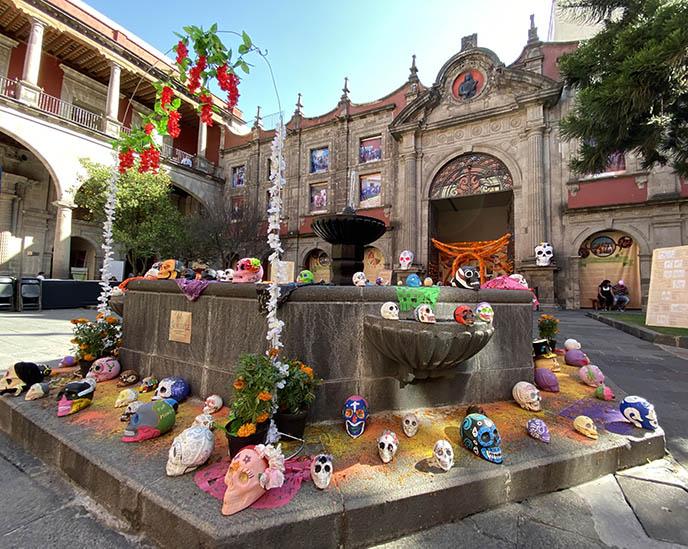 courtyard mexican sugar skulls dia de los muertos
