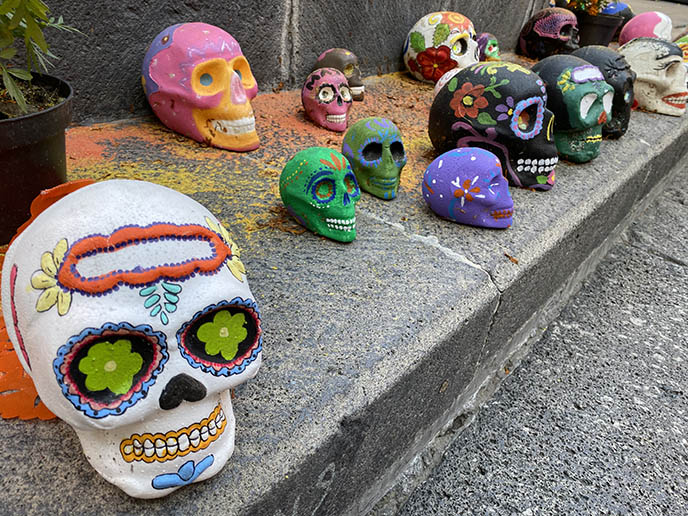 painted colorful rainbow sugar skulls mexico city