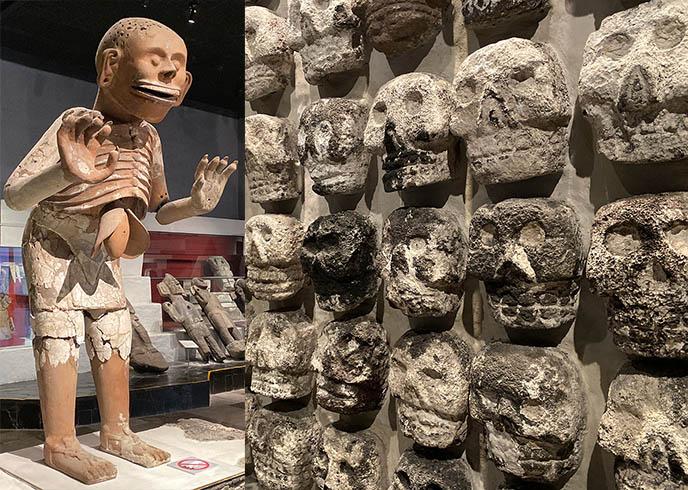 wall of skulls mexico city temple tzompantli