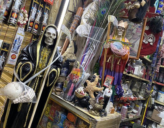 santeria mexico city, grim reaper santa muerte statues