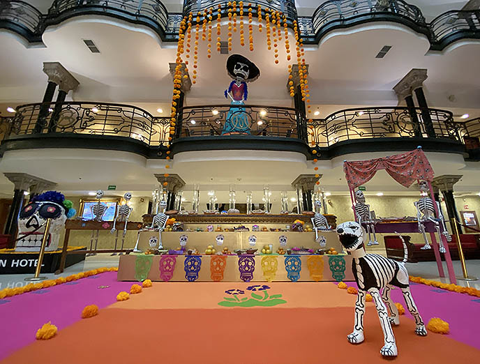 mexico city hotel day dead skeletons art