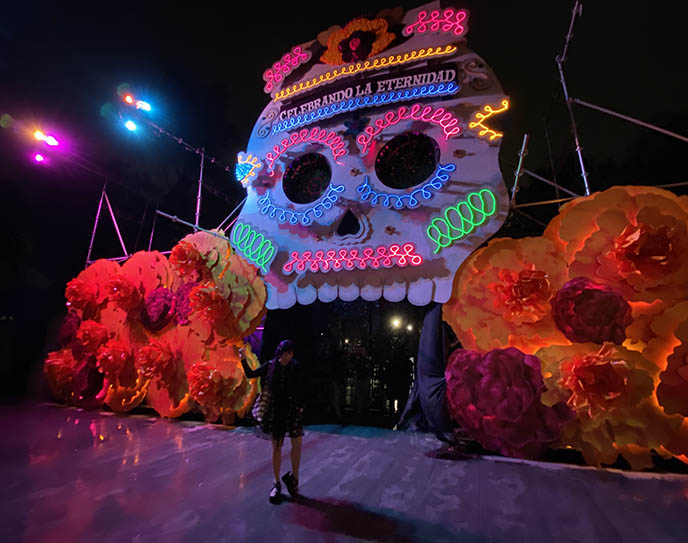 mexico city giant huge sugar skull display statue