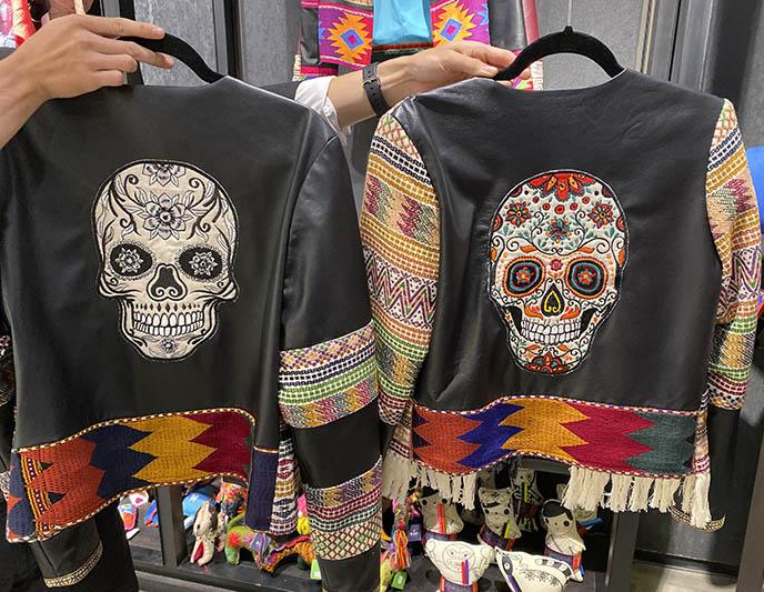 designer leather jackets sugar skulls back