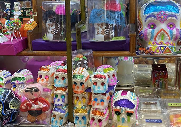 rainbow candy sugar skulls, mexican decorated Calavera de Azúcar