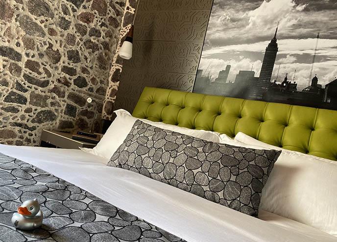 mumedi mexico city bed, hotel room art hotels