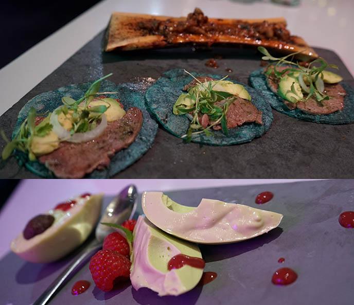 blue tortilla tacos, bone marrow mexican food