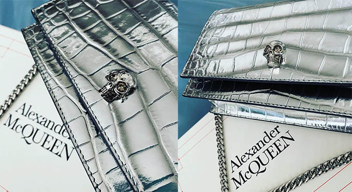 alexander mcqueen silver croc mini bag, skull clutch purse