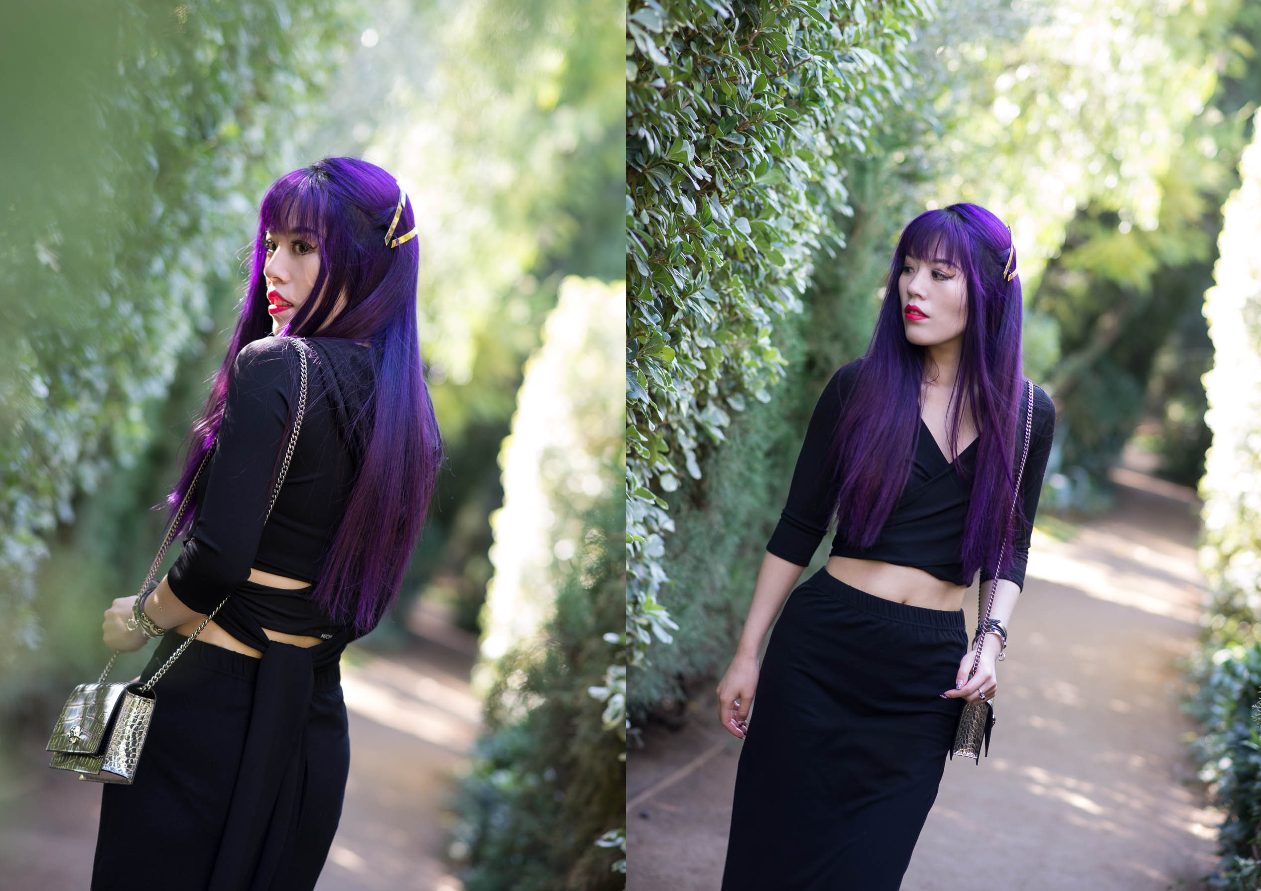 dark purple dyed long hair asian girl