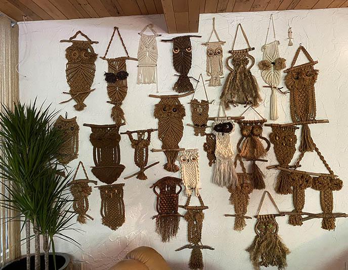 macrame owls wall hanging 70s