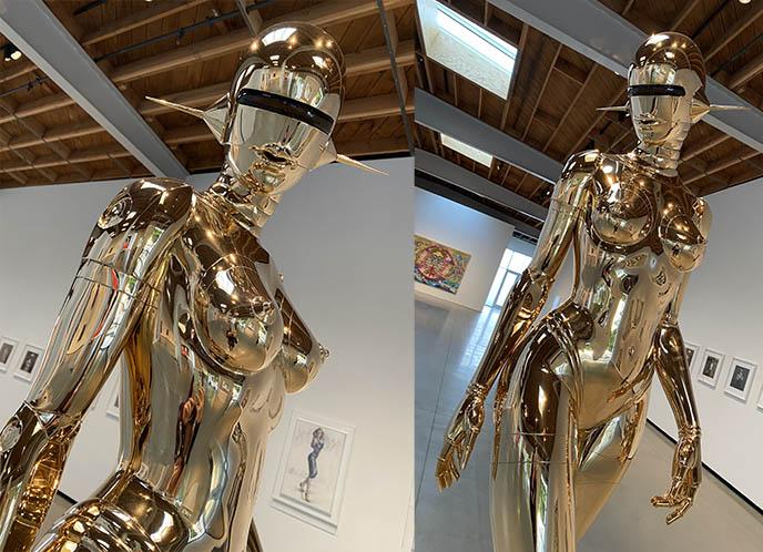 hajime sorayama robot women, gold sculpture